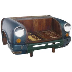 Original Vintage Hindustan Ambassador Car Taxi Bench