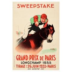 Original Vintage Horse Racing Poster Sweepstake Grand Prix De Paris Longchamp
