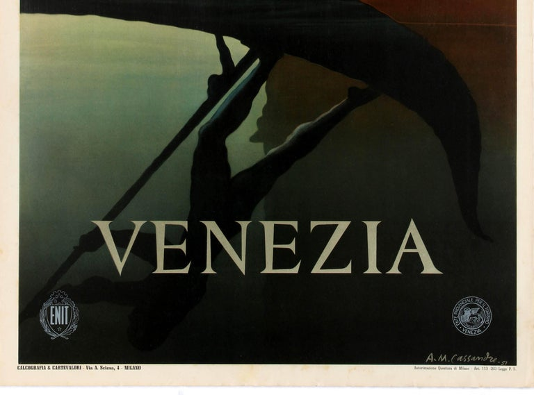 Original Vintage Iconic ENIT Travel Poster by Cassandre Venice Venezia Gondola In Good Condition In London, GB