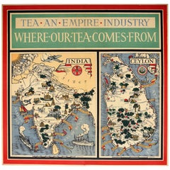 Original Vintage Illustrated Map Poster Empire Industry Where Our Tea Comes From