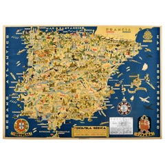 Original Vintage Illustrated Map Poster Iberian Peninsula Iberica Portugal Spain