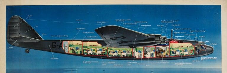 British Original Vintage Imperial Airways Ensign Air Liner Travel Poster Europe Services For Sale