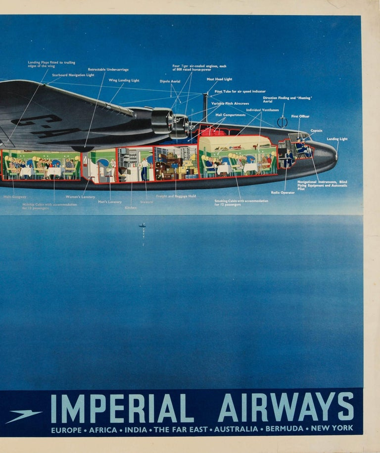 Original Vintage Imperial Airways Ensign Air Liner Travel Poster Europe Services In Good Condition For Sale In London, GB