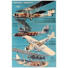 Original Vintage Imperial Airways Travel Brochure Poster Flying Boat Land Planes