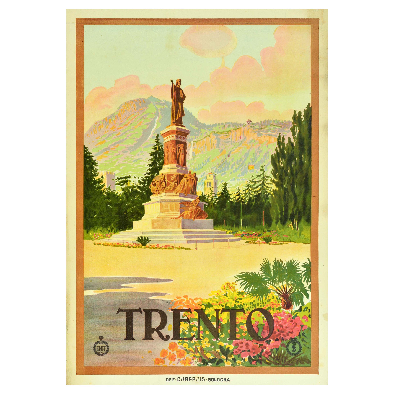 Original Vintage Italy Travel Poster Trento Alps Monument To Dante ENIT Railways