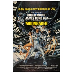 Original Vintage James Bond Film Poster Moonraker Outer Space Now Belongs To 007