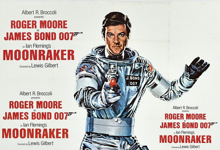 Original vintage cinema poster for the 007 James Bond movie Moonraker starring Roger Moore in the lead role, Lois Chiles (Holly Goodhead), Michael Lonsdale (Hugo Drax) and Richard Kiel (Jaws) with the title song performed by Shirley Bassey for her