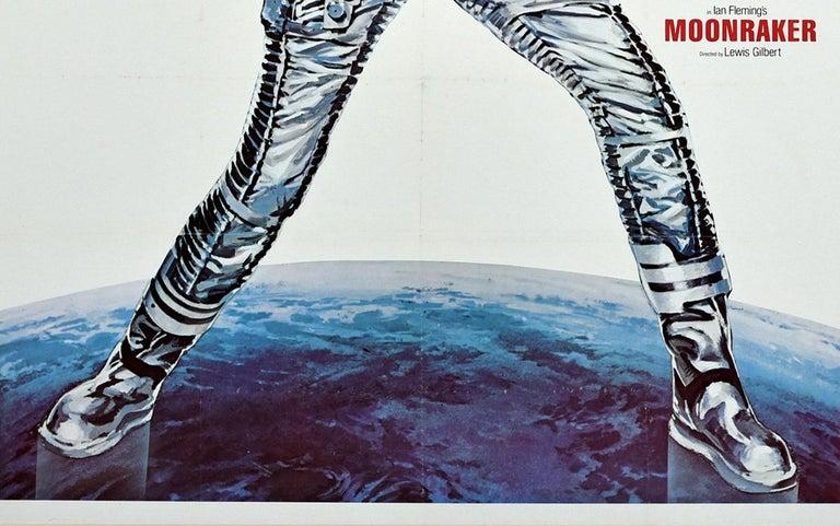 British Original Vintage James Bond Film Poster Moonraker Roger Moore 007 Movie Art For Sale