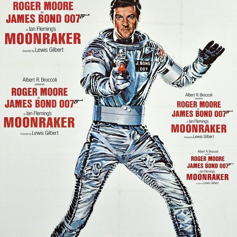 Original Vintage James Bond Film Poster Moonraker Roger Moore 007 Movie Art In Good Condition For Sale In London, GB
