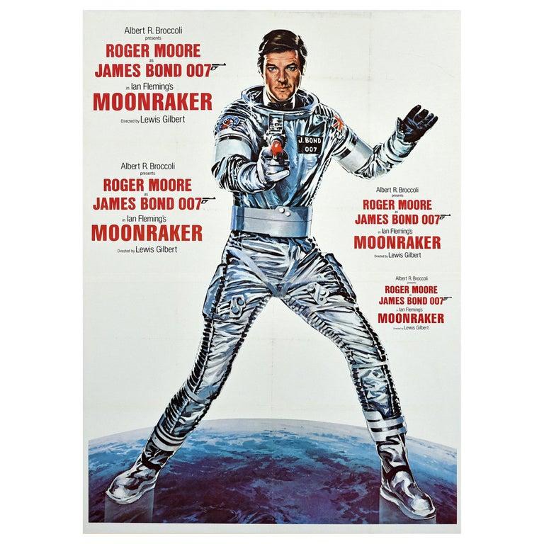 Original Vintage James Bond Film Poster Moonraker Roger Moore 007 Movie Art For Sale