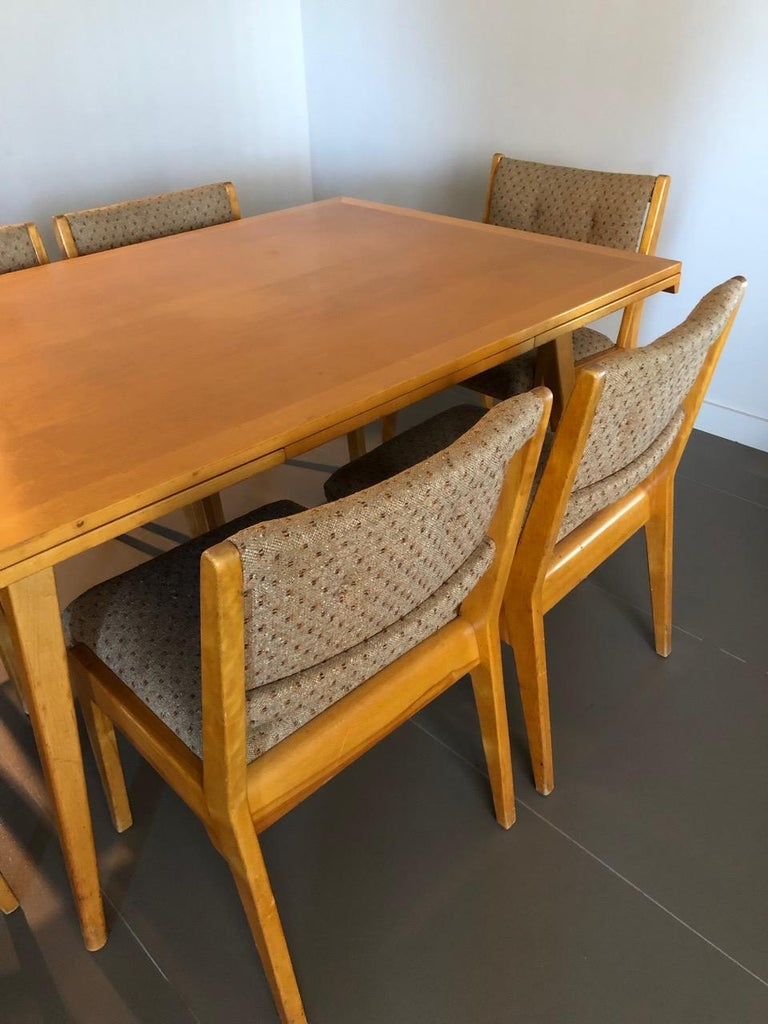 original vintage jens risom extension dining table with