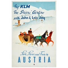 Original Vintage KLM Airline Poster Winter Ski Sun Snow & Fun Austria Horse Sled