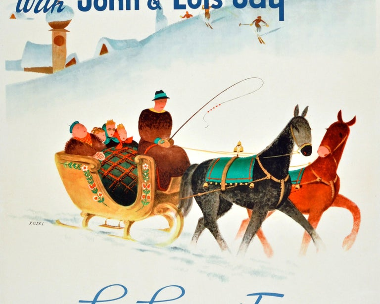 Austrian Original Vintage KLM Travel Poster Winter Sport Skiing Sun Snow & Fun In Austria For Sale