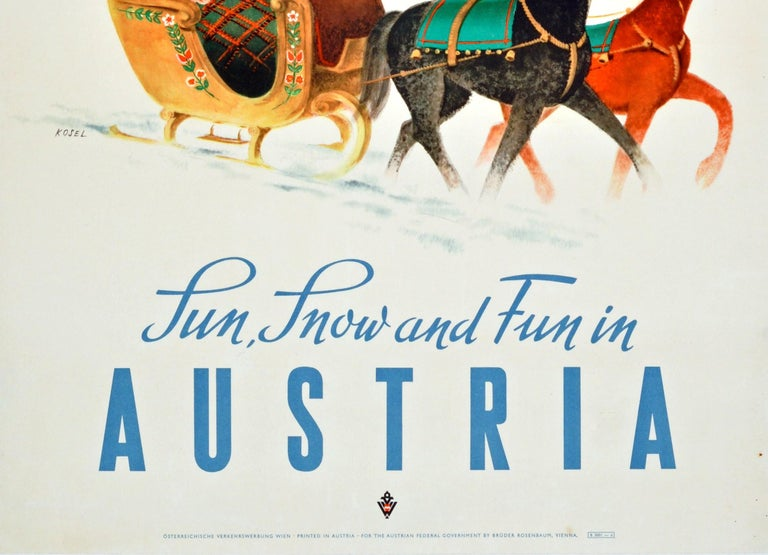 Original Vintage KLM Travel Poster Winter Sport Skiing Sun Snow & Fun In Austria In Good Condition For Sale In London, GB