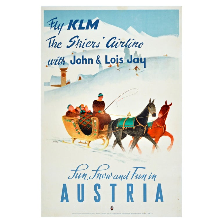 Original Vintage KLM Travel Poster Winter Sport Skiing Sun Snow & Fun In Austria For Sale