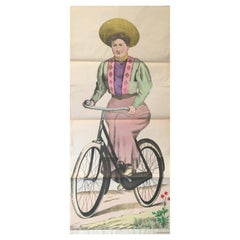 Original Vintage Lithograph, 'Woman Cyclist', France: c. 1880