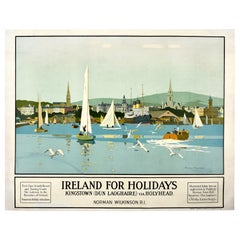 Original Vintage LMS Poster Ireland For Holidays Kingston Dun Laoghaire Sailing