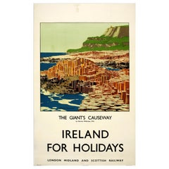 Original Vintage LMS Railway Poster The Giant's Causeway Ireland For Holidays