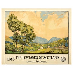 Original Vintage LMS Railway Poster The Lowlands of Scotland by Donald Maxwell