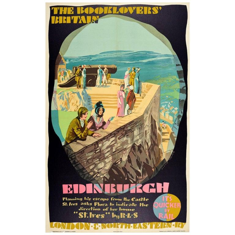 Original Vintage LNERailway Poster Booklovers Britain Edinburgh Castle Stevenson
