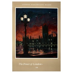 Original Vintage London Electricity Board Poster The Power Of London Parliament