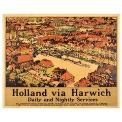 Original Vintage London & North Eastern Railway Poster Holland Via Harwich LNER