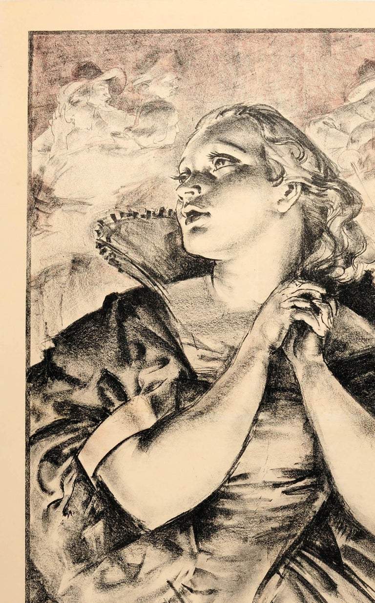 Original vintage travel advertising poster For London Drama London Transport featuring a stunning black and white charcoal drawing by the portrait artist and printmaker James Ardern Grant (1887-1973) depicting a dramatic portrait of a lady holding