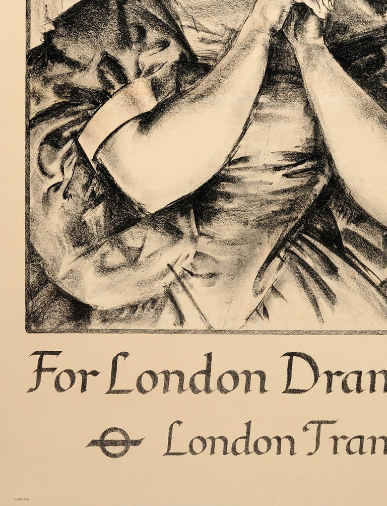 Original Vintage 1935 London Theatre Poster For London Drama London Transport In Good Condition For Sale In London, GB