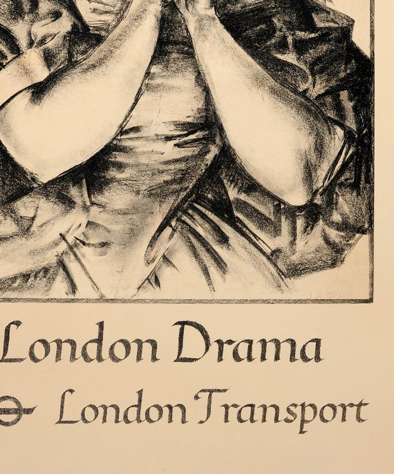 Mid-20th Century Original Vintage 1935 London Theatre Poster For London Drama London Transport For Sale