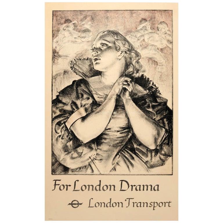 Original Vintage 1935 London Theatre Poster For London Drama London Transport For Sale