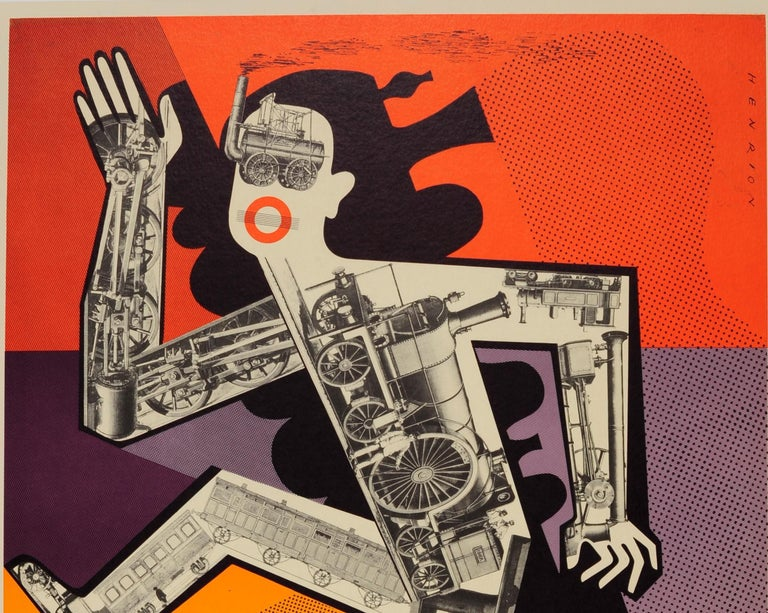 Original vintage travel advertising poster for the London Underground by the notable graphic designer Frederic Henri Kay Henrion (1914-1990) featuring a surreal modernist collage of trains and engines inside the outline of a leaping figure off to
