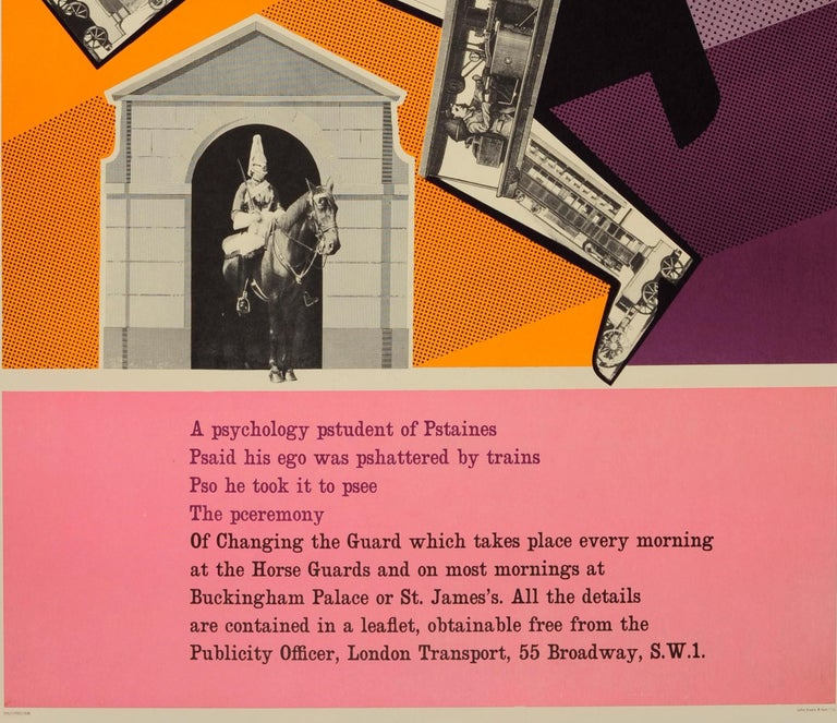 Original Vintage London Underground Poster - Psychology Pstudent at Horse Guards In Good Condition For Sale In London, GB