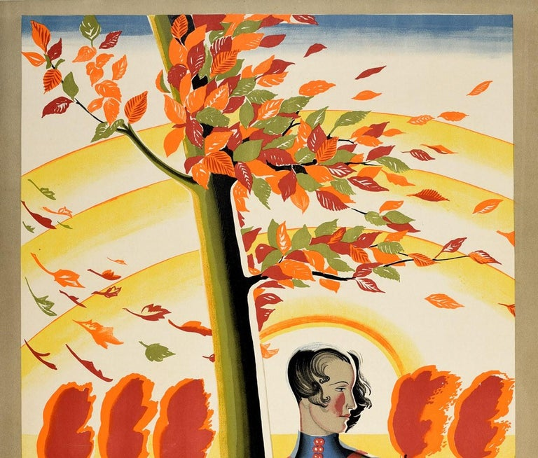 Original vintage London Underground travel poster - There is Still the Country - featuring stunning artwork by the British designer and illustrator Dora Margaret Batty (1891-1966) of a lady leaning against a fence in the countryside with the wind