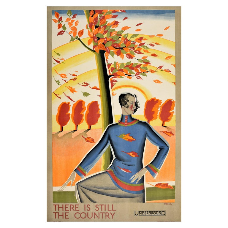 Original Vintage London Underground Poster There Is Still The Country Autumn Art For Sale