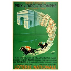 Original Vintage Lottery Poster Loterie Nationale Arc De Triomphe Horse Race Art