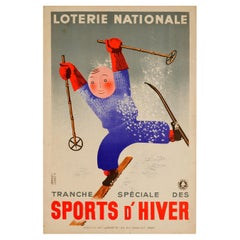 Original Vintage Lottery Poster Loterie Nationale Winter Sports d'Hiver Skiing