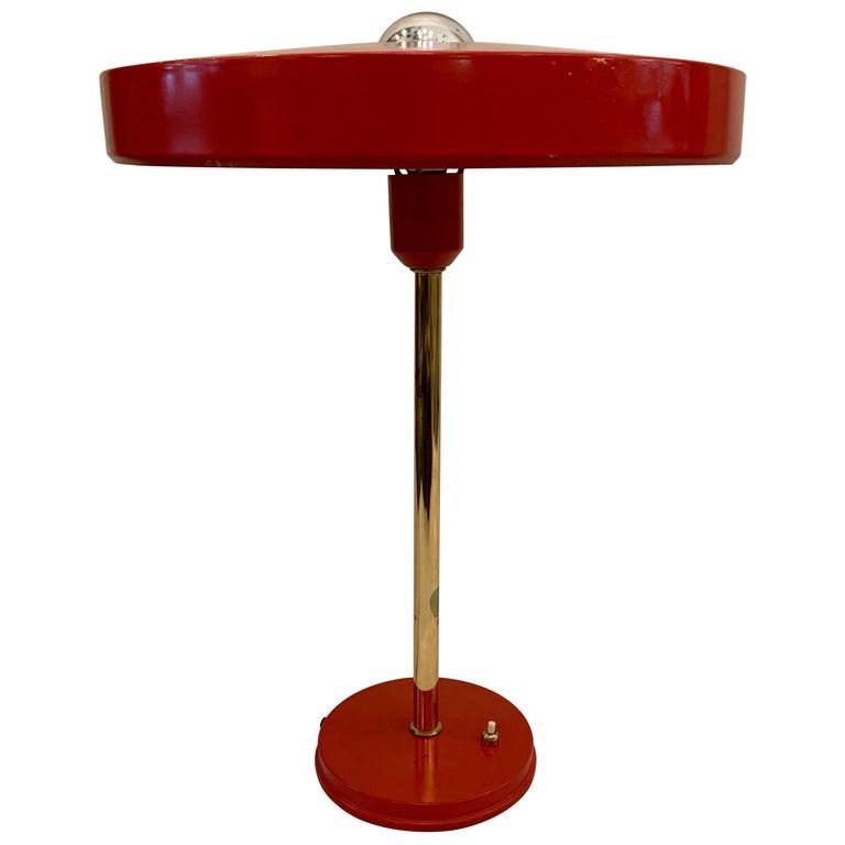 Original Vintage Louis Kalff for Philips Enamel and Brass Timor Lamp For Sale