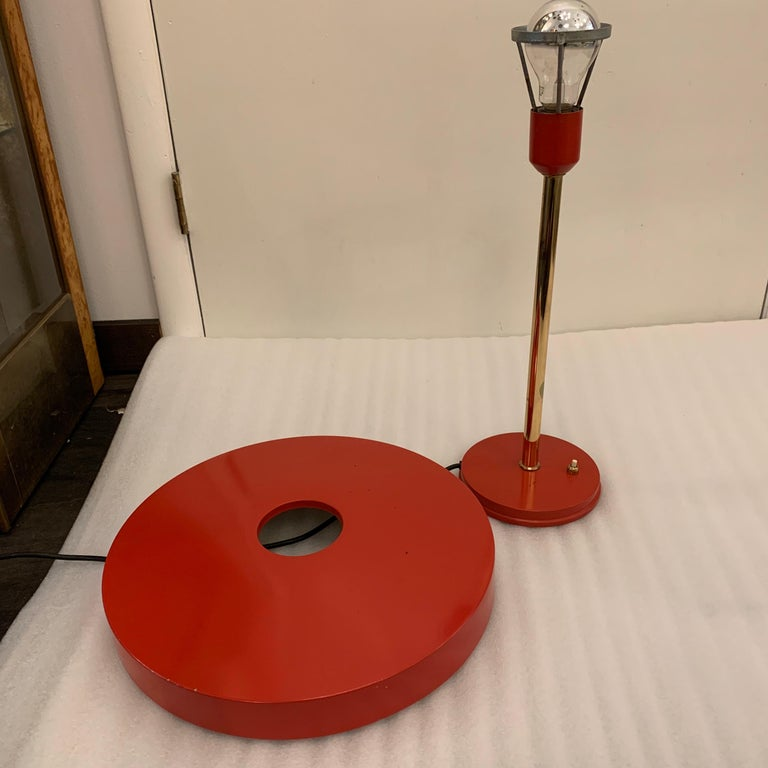 Original Vintage Louis Kalff for Philips Enamel and Brass Timor Lamp In Good Condition For Sale In East Hampton, NY