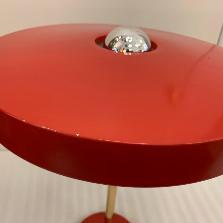 Original Vintage Louis Kalff for Philips Enamel and Brass Timor Lamp For Sale 1