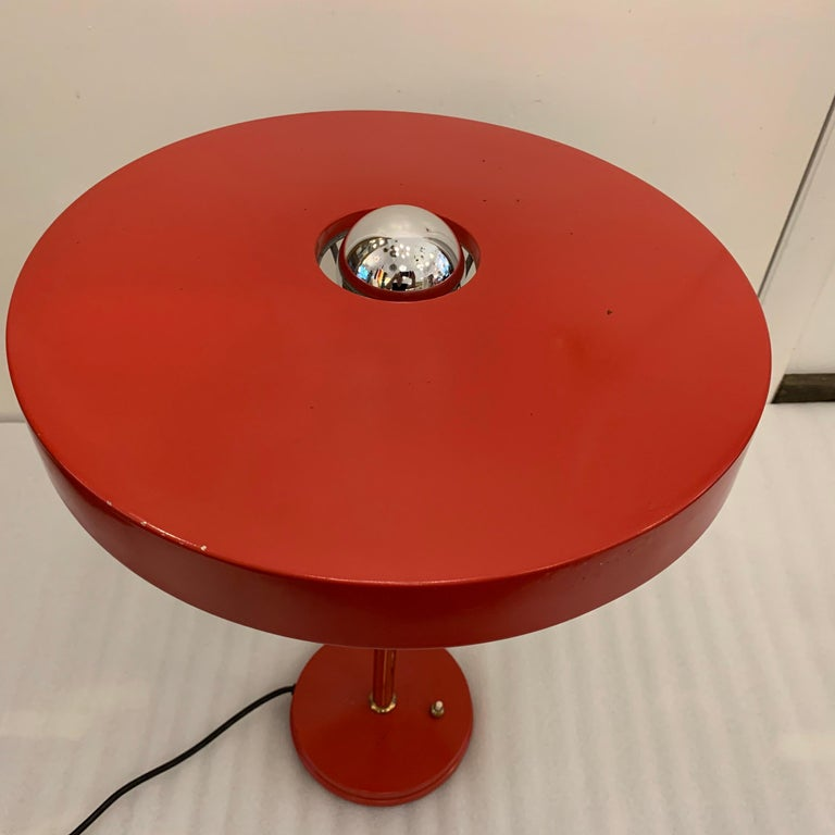 Original Vintage Louis Kalff for Philips Enamel and Brass Timor Lamp For Sale 2
