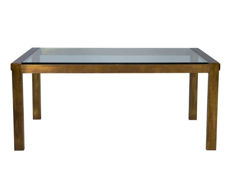 Mid-Century Modern Original Vintage Mastercraft Aged Brass Dining Table For Sale