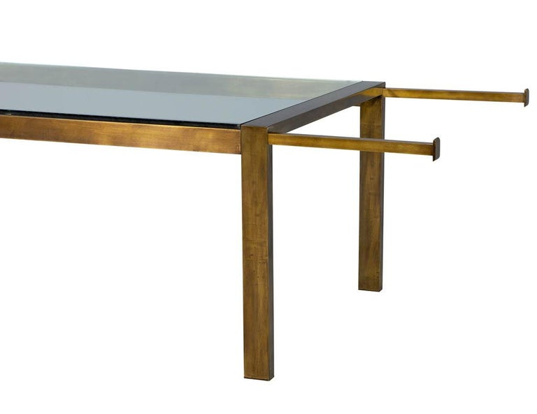 American Original Vintage Mastercraft Aged Brass Dining Table For Sale