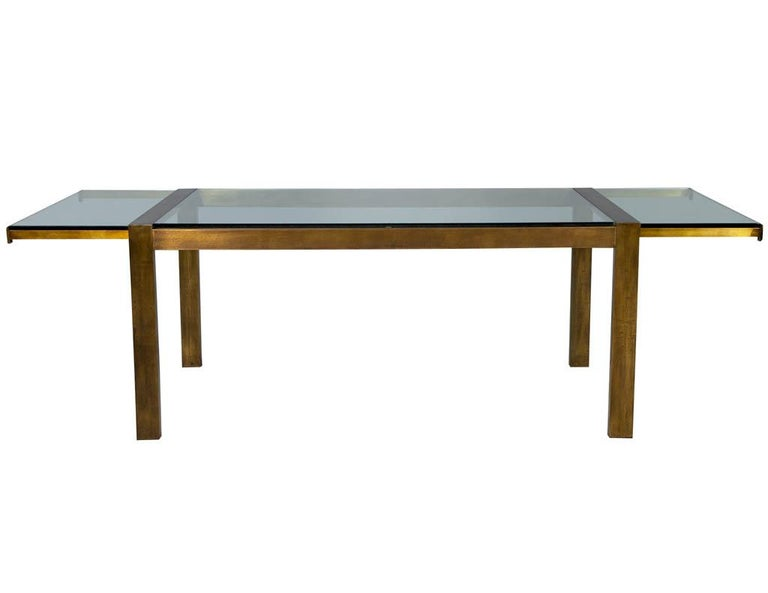 Mid-20th Century Original Vintage Mastercraft Aged Brass Dining Table For Sale