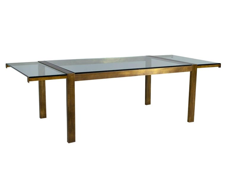 Original Vintage Mastercraft Aged Brass Dining Table For Sale 1