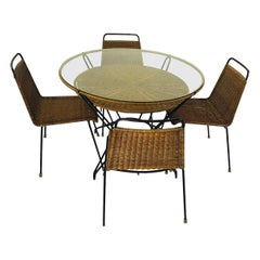 Original Vintage Mexican Rattan and Iron Dinning Set with 4 Chairs