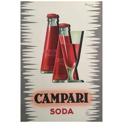 Original Vintage Mid-Century French 'Campari Soda' Poster by Mingozzi, 1950