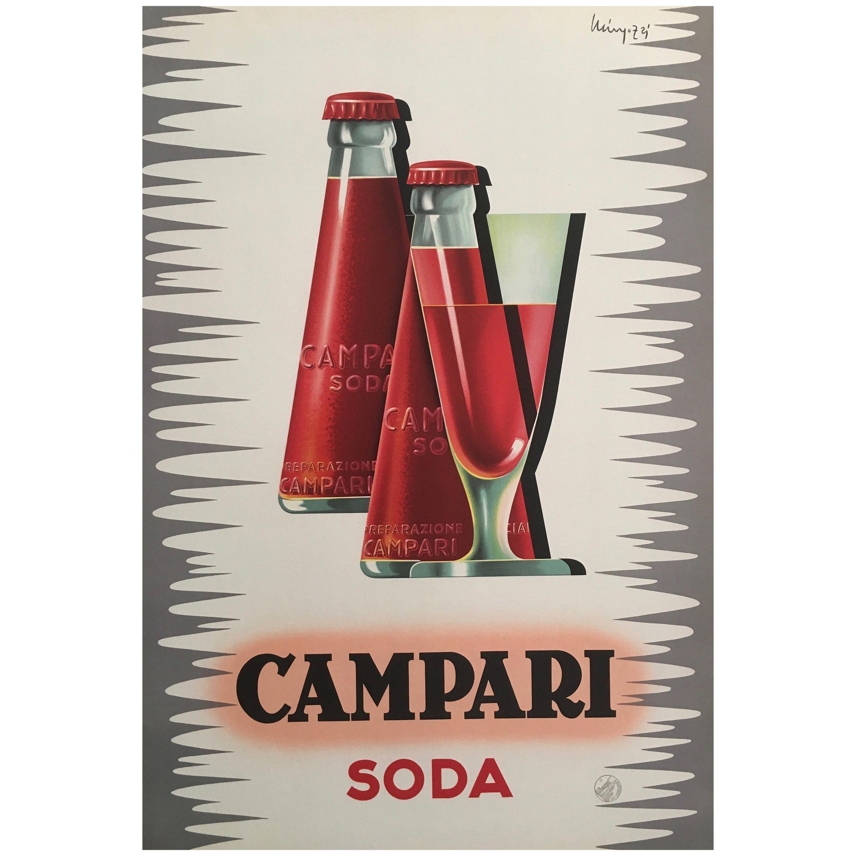 Original Vintage Midcentury French 'Campari Soda' Poster by Mingozzi, 1950