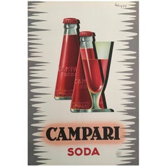 Original Vintage Midcentury French 'Campari Soda' Poster by Mingozzi, 1950