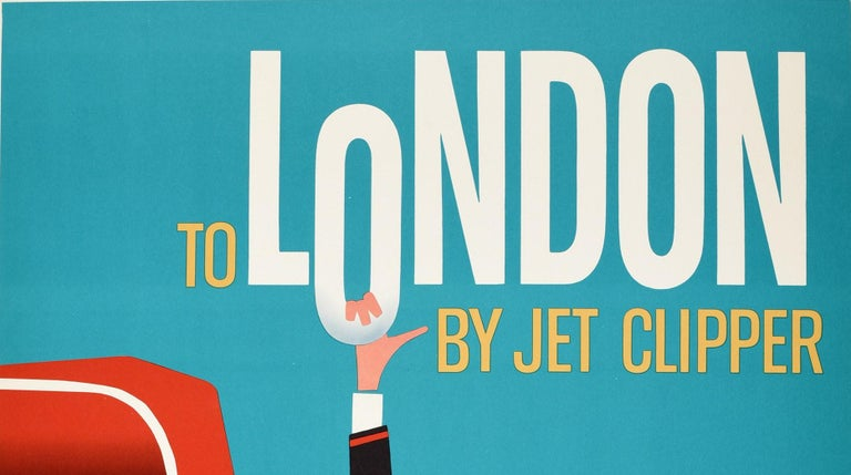 Original vintage travel poster - To London by Jet Clipper Pan Am World's Most Experienced Airline - featuring a fantastic Mid-Century Modern design against a blue background of a red double decker London bus with the smiling conductor in uniform