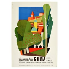Original Vintage Mid Century Travel Poster Graz Austria Summer Festivals d'Ete